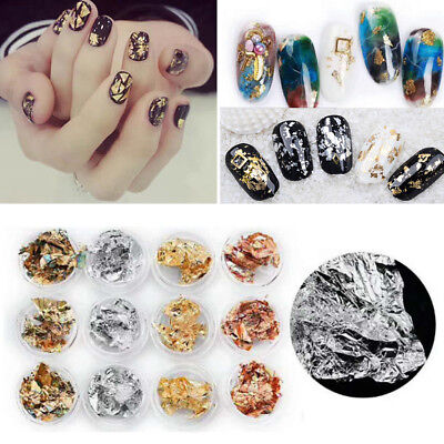 12Pc Nail Art Rose Gold/Silver Paillette Flake Foil Acrylic UV Gel Paper Sticker