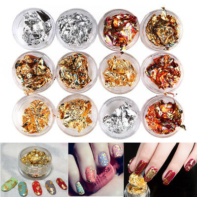 12pcs Charm Nail Art Gold Silver Metal Foil Paper Flake 3D Sticker Decal Decor