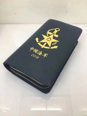 18's China PLA Navy Noctilucent Badge Officer Genuine Leather Wallet,1 Pcs,A.