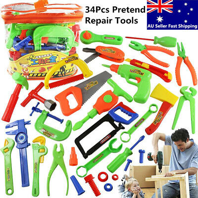 34 Pcs Plastic Repair Tools Set Baby Kids Boys Toys Craftsman Pretend Play Set