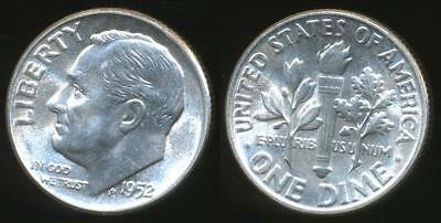 United States, 1952 Dime, Roosevelt (Silver) - Uncirculated