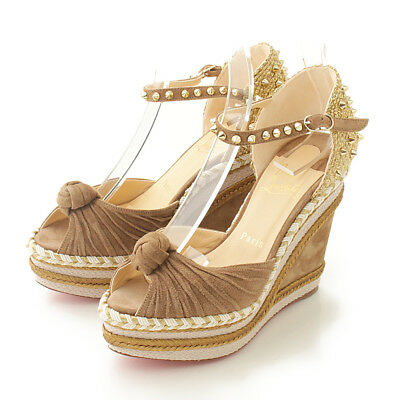 b06392034ae Authentic Christian Louboutin Madcarina 120 Wedge Sole Sandals Grade Ns Used  -At