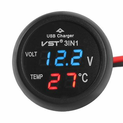 Cigarette Lighter Style Digital Thermometer Display Voltmeter W/ USB Charger FG