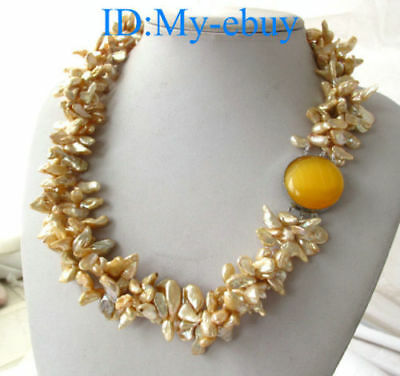 """3 Strands ChampagnePetal Keshi Keishi Pearl Necklace 20"""" Opal Clasp"""