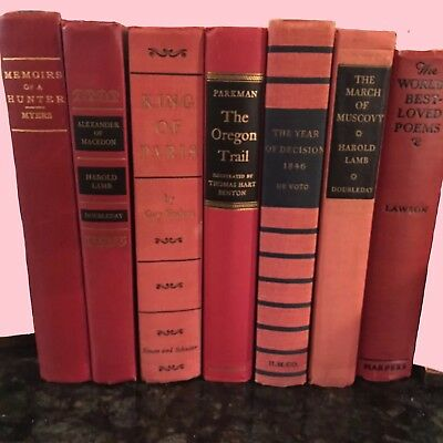 Lot of 6 Vintage Hardcover Books - Red and Black Mid Century Modern