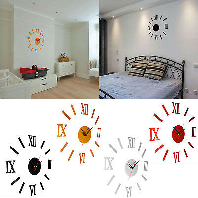 3D DIY Wall Clock Home Modern Decoration Crystal Mirror Sticker Living Room Gift