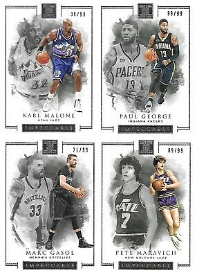 2016-17 IMPECCABLE BASKETBALL NBA Malone George Maravich 4x Base Cards Lot /99