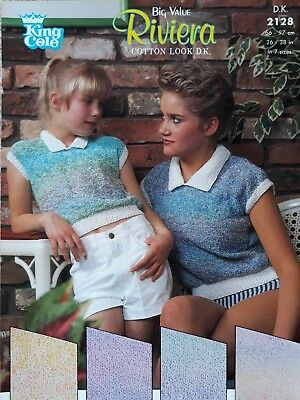 Knitting pattern King Cole 2128 ladies & girls DK easy knit top with collar