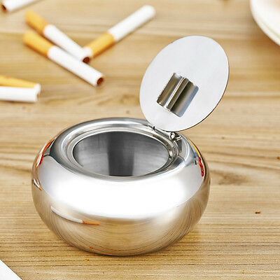 Portable Stainless Steel Cigarette Ashtray Smokers Ash Container Tobacco Tray AU