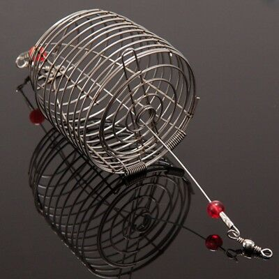 Stainless Steel Wire Fishing Bait Cage Bait Cage Trap Round Basket Tackle AU
