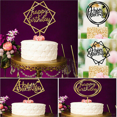 Happy Birthday Cake Topper Acrylic Birthday Party Decoration Supplies 5 Patterns