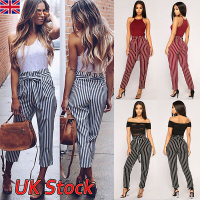 UK Womens High Waist Paperbag Cigaratte Striped Trousers Ladies Pants Size 6-14