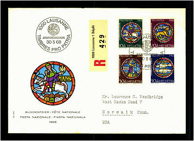 Lausanne 1968 Bundesfeier Helvetia Timbres Pro Patria R Brief Cover Stamps