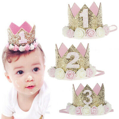 1/2/3 Years Old Baby Party  Birthday Hat Flower Headwear Hair Crown Decoration