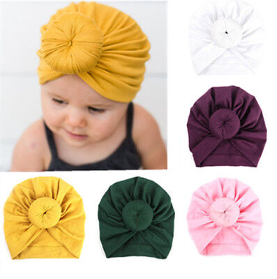 Baby Indian Twist Knot Bonnet Chemo Turban Cap Beanie Hat Head Scarf Wrap Solid