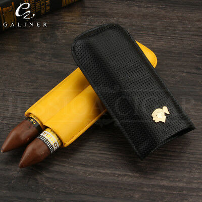 COHIBA Classic Black & Yellow Leather Travel 2 Tube Cigar Case Humidor Holder
