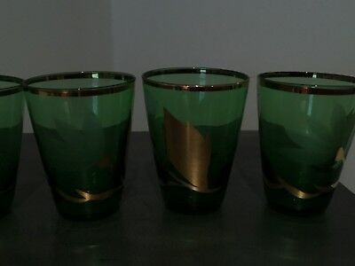 6 Vintage Bottle Green And Gold Small  Glasses