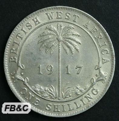 1917 British West Africa Shilling Silver Coin KM# KGV