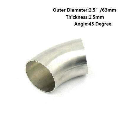 2.5'' 63mm Stainless Steel 45 Degree Exhaust Bend Elbow Pipe Thickness:1.5mm