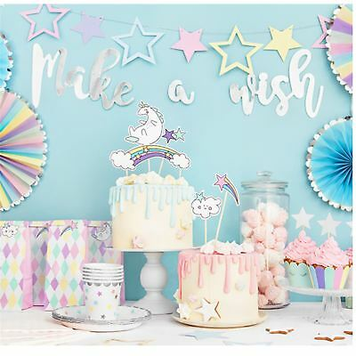 Pastel Unicorn Girls Birthday Party Decorations Pink Magical Stars Tableware