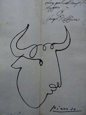 PABLO PICASSO  -  DRAWING / INK ON OLD PAPER - -  dessin -- /--