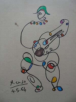 PABLO PICASSO  -  DRAWING / INK ON OLD PAPER - -  dessin -- /---- --