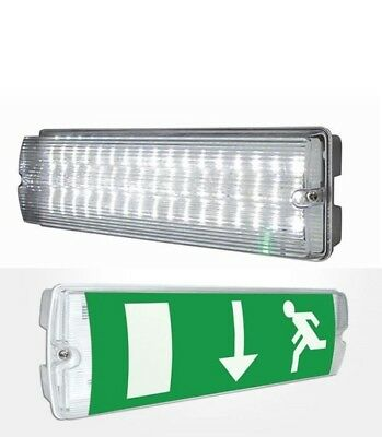 Ip65 Led Emergency Bulkhead Light Exit Sign 8 Watt Maintained Or Non Maintained