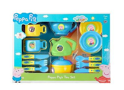 Peppa Pig Plastic Tea Set with Kettle Teapot Cups & Saucers Blue/Yellow Kids Toy