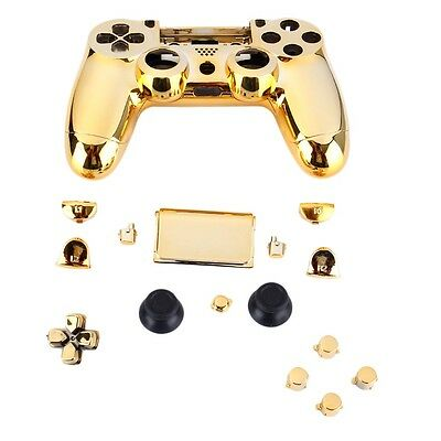 Gold Chrome Replacement Hydro Dipped Shell Mod Kit for PS4 Controller MG
