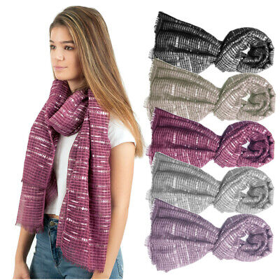 Ladies Oversized Viscose Organza Check Shawl/Scarf with Silver Accent Print