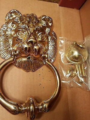 """The Broadway Collection Vintage NEW NIB Brass Lion Door Knocker Large 8"""""""