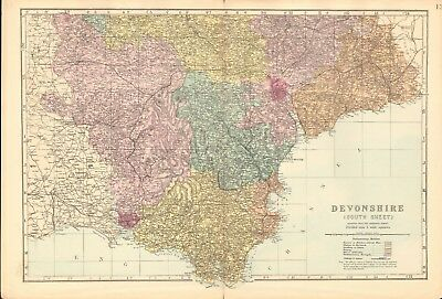 1890 Ca ANTIQUE MAP - DEVONSHIRE SOUTH SHEET, DARTMOUTH, PLYMOUTH, EXETER