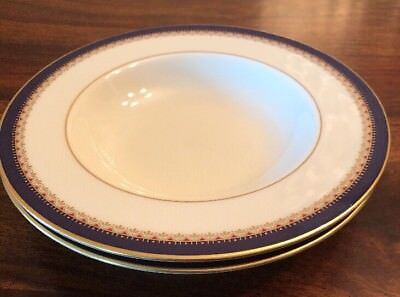 """Lenox Presidential Jefferson China 8 1/4"""" Rimmed Soup Bowls Set of 2 TWO"""