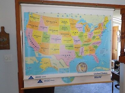 Modern Educational Systems World & USA Double Pull Down 2004 School Map  # 71-05