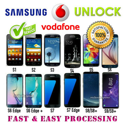Vodafone UK UNLOCK CODE for SAMSUNG GALAXY S9 S8 S7 S6 S5 S4 S3 S2+All Edge/Plus
