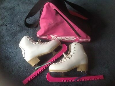 Lovely Pair of Ladies White Leather Risport Antea Ice Skates Size 3 (35)