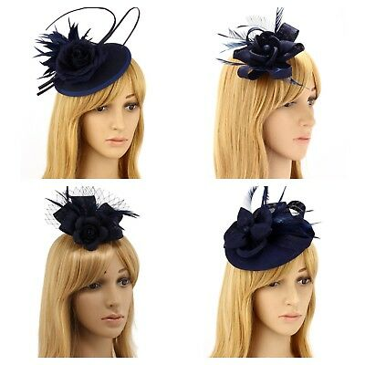 Navy Fascinator Brooch Clip Hat Headband Feather Flower Wedding Ladies Day Races