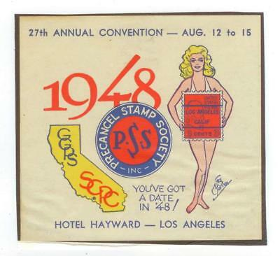 1948 Los Angeles California Hotel Hayward label - Precancel Stamp Society Conv.