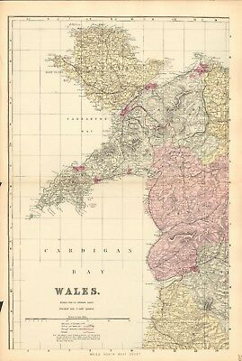 1890 Ca ANTIQUE MAP - WALES, COMPLETE PRINCIPALITY, 4 MAPS