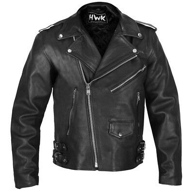 HWK 100% Genuine Cowhide Leather Motorcycle Jacket Motorbike Biker Brando Jacket