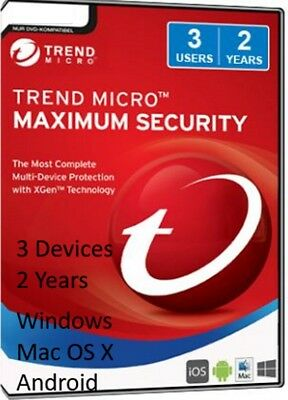 Genuine Trend Micro Maximum Internet Security 2018 3x Devices 2x Year Universal