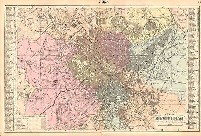 1890 Ca ANTIQUE MAP - TOWN PLAN, BIRMINGHAM, WITH STREET DIRECTORY