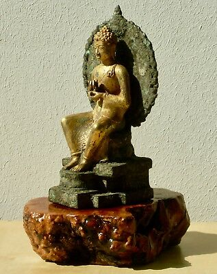 rare bronze and fire gold gilt Javanese seated Buddha, Indonesia