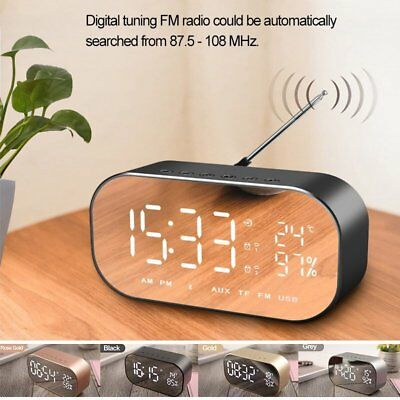 LED Funk Bluetooth Lautsprecher Radiowecker Digital Alarmwecker Subwoofer FM TF