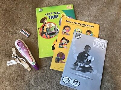 LeapFrog Leap Reader Pen Pink & Purple WITH Original USB Cord & Manual EXCELLENT