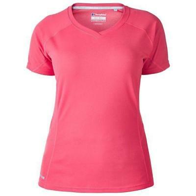 Berghaus Womens Sports BASE LAYER OUTDOOR V-Neck Technical T-shirt Pink Size 12