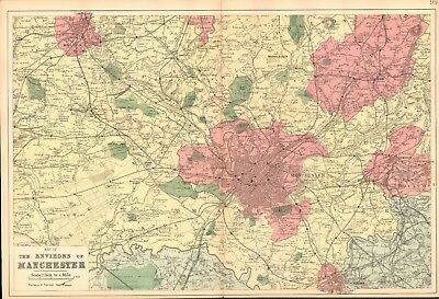 1890 Ca ANTIQUE MAP - THE ENVIRONS OF MANCHESTER, ASHTON, OLDHAM, BOLTON