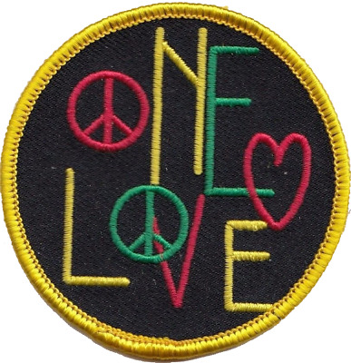 Bob Marley Rastafarian One Love Peace Embroidered Patch