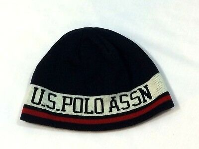 a18725d6577 US POLO ASSN BEANIE STOCKING Knit Color Block HAT Blue Striped White Red EUC