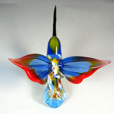glass animal bird  hummingbird blue red wings  murano figurine art hand blown